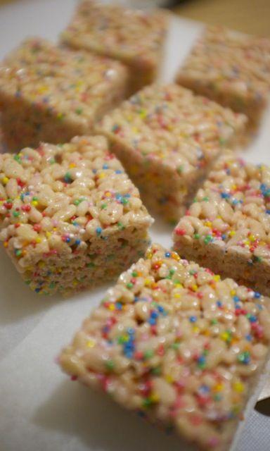Rainbow confetti Rice Krispy Treats