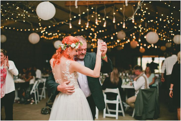 Special moments between dad and daughter and Gemma and Geoff's forest vegan wedding