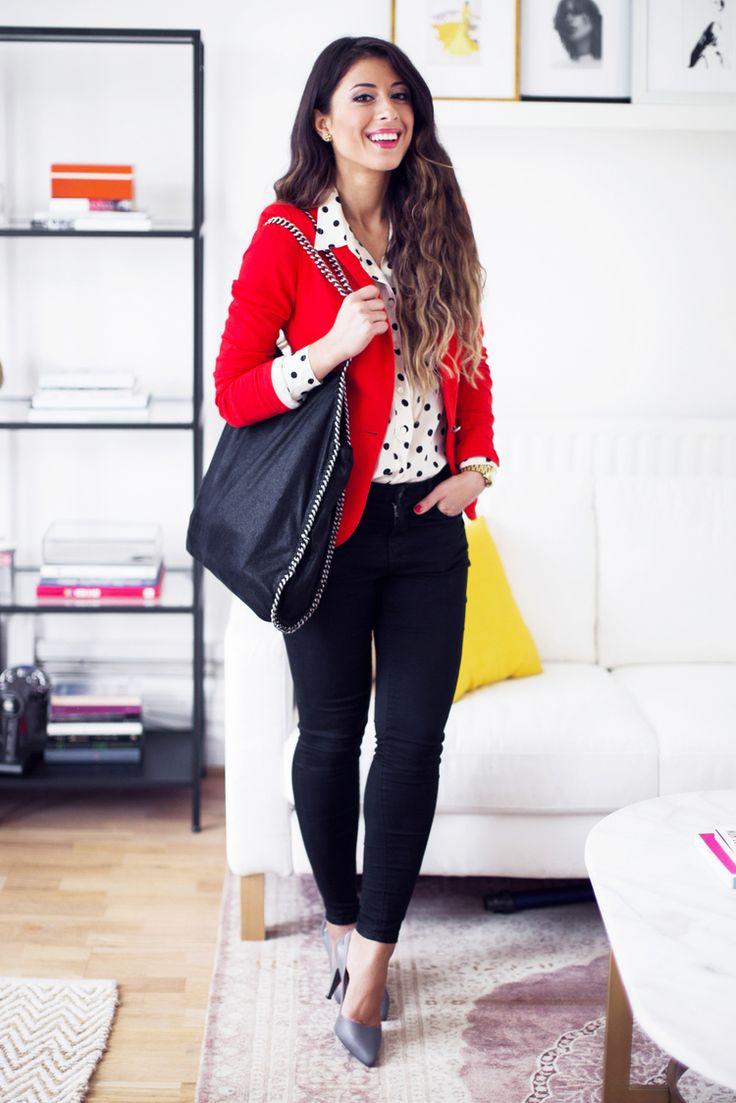 Mimi Ikonn | Red blazer, polka dot shirt, skinny jeans, pumps, Stella McCartney bag, Michael Kors watch, Luxy hair extensions