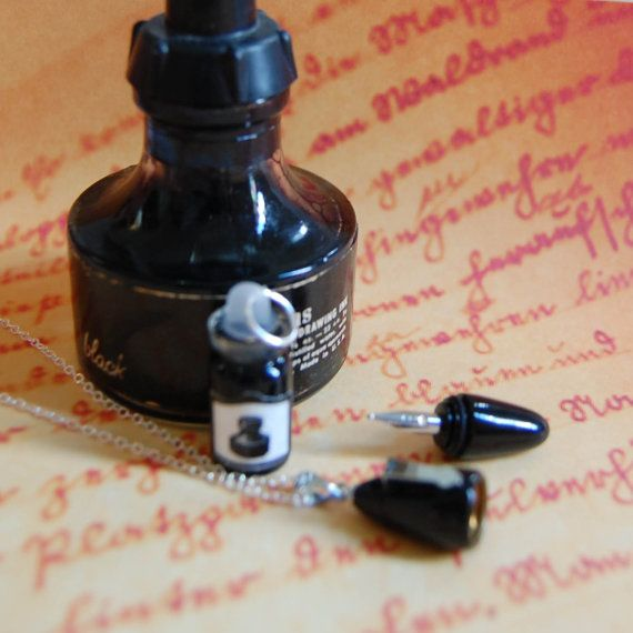 REAL Working Teeny Tiny Mini Fountain Pen Necklace with Ink Bottle - Fountain of Youth
