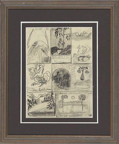 NIKOLAI ASTRUP BREMANGER 1880 - FØRDE 1928  Ex Libris Blyant, 22x16 cm (Lysmål) Signert nede til høyre: NA