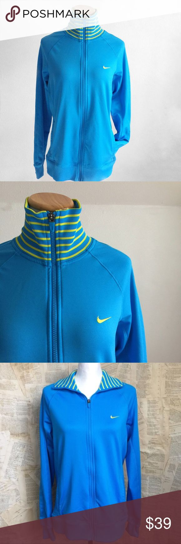 "Nike Track Jacket Nike Track Jacket. Striped ribbed collar gives a retro vibe. Front swoosh logo. Front pockets. Zip closure. Dri-fit. EUC. Underarm to underarm 20"". Length 26"". A04 Nike Jackets & Coats"