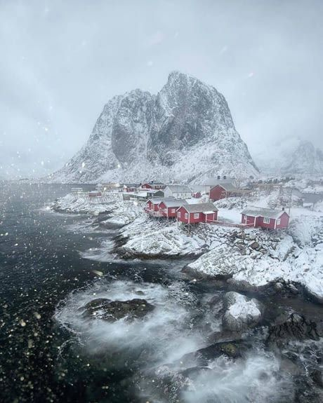 Winter in the Lofoten Islands, Norway.