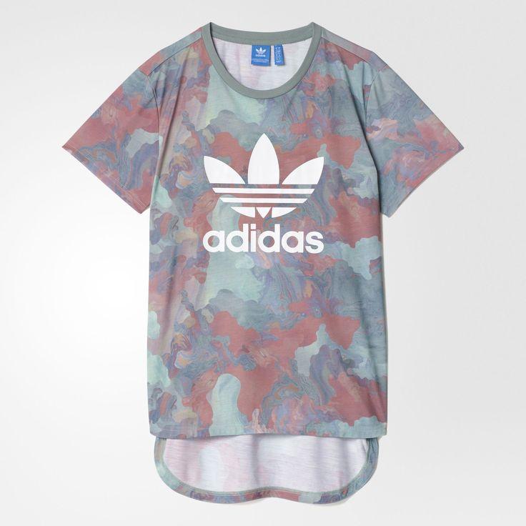 adidas - Camiseta Boyfriend Larga Camuflaje Color Pastel