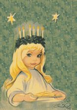 Saint Lucia (Light), brought food into the catacombs where Christians were hiding--put the candles on her head so she could carry more food. Celebrated in Sweden every 13 December.