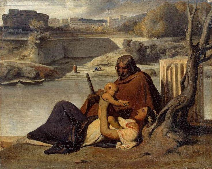 Paul Delaroche - Resting on the Banks of the Tiber.