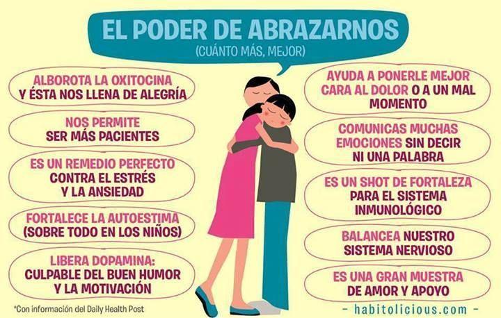 Un sencillo remedio contra muchos males. #abrazar #hug #Spanish #abrazos