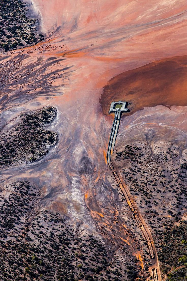 A photographic print by Paul Hoelen for One Fine Print. #Red #Pink #Rusty #Orange #Textured #Abstract #Aerial #Landscape #Print #Art #Water #Australia #Vertical