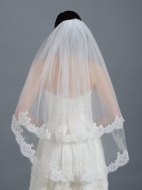 2 tier bridal wedding veil ivory elbow alencon lace by alexbridal
