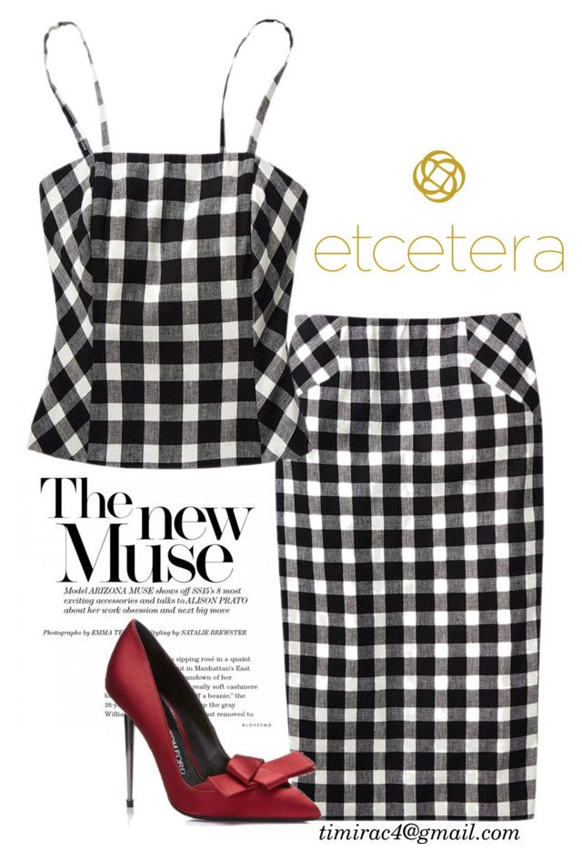 Etcetera 2017 Summer: Discreet Linen Plaid Bustier and Skirt by timirac on Polyvore featuring polyvore, fashion, style and clothing