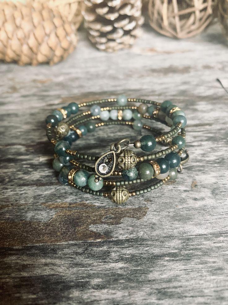 💎Memory wire gemstone beaded wrap around bracelet 💎