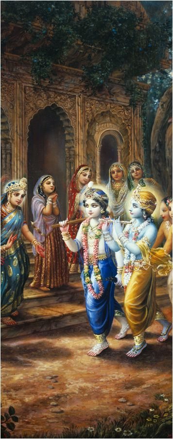 "Kṛṣṇa was very expert in playing the flute, and the gopīs were captivated by the sound vibration, which was not only attractive to them, but to all living creatures who heard it. One of the gopīs told her friends, ""The highest perfection of the eyes is to see Kṛṣṇa and Balarāma entering the forest and playing Their flutes and tending the cows with Their friends."""
