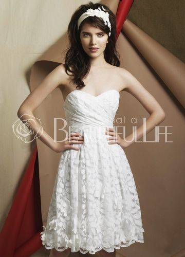 $117.49  Lovely Satin Lace Sweetheart Mini Wedding Dress With Crisscrossed Bust  #Lovely #Wedding #Dress
