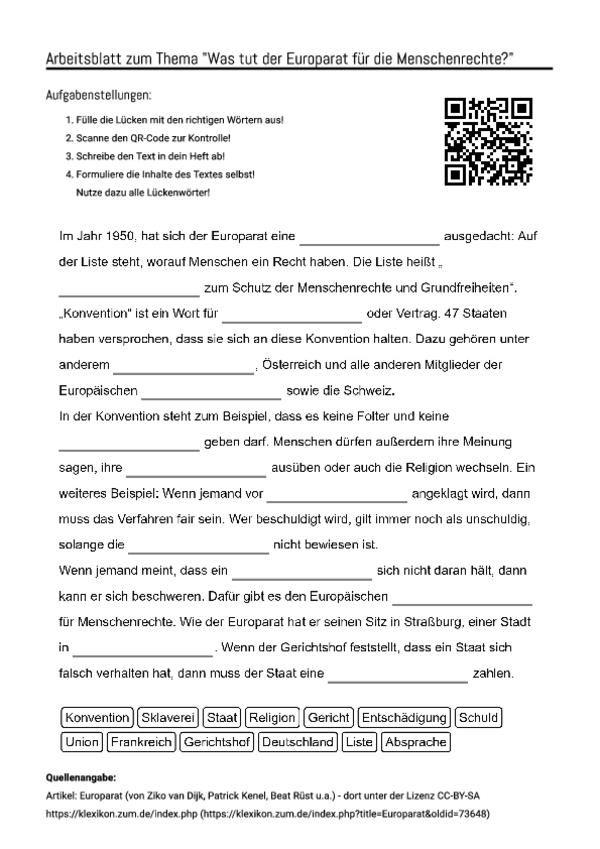 Arbeitsblatt Mit Luckentext Zum Thema Was Tut Der Europarat Fur
