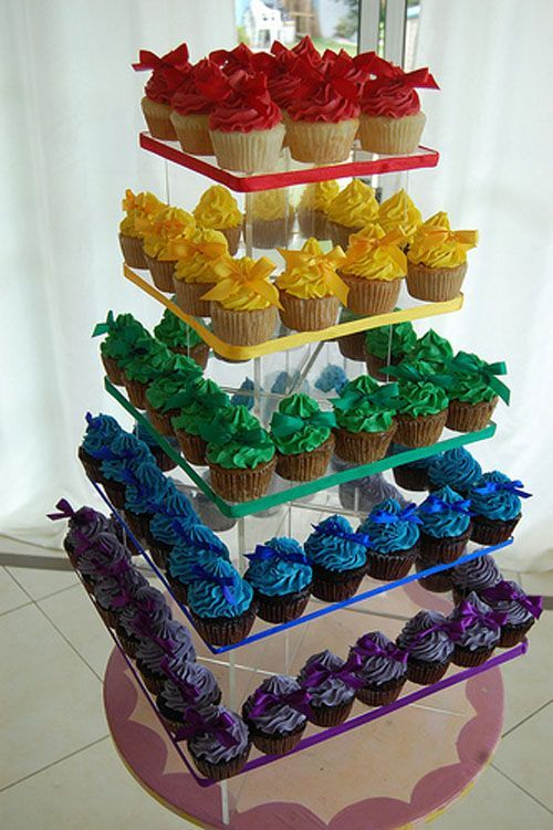 cup cakes coloured #rainbow wedding cup cakes