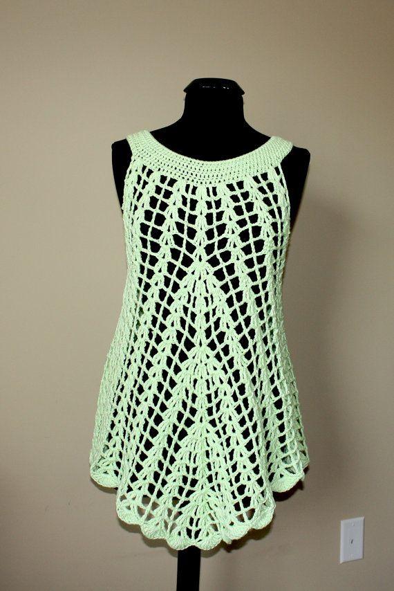 Mint green crochet summer tunic. Ready to ship. by darina23, $39.00