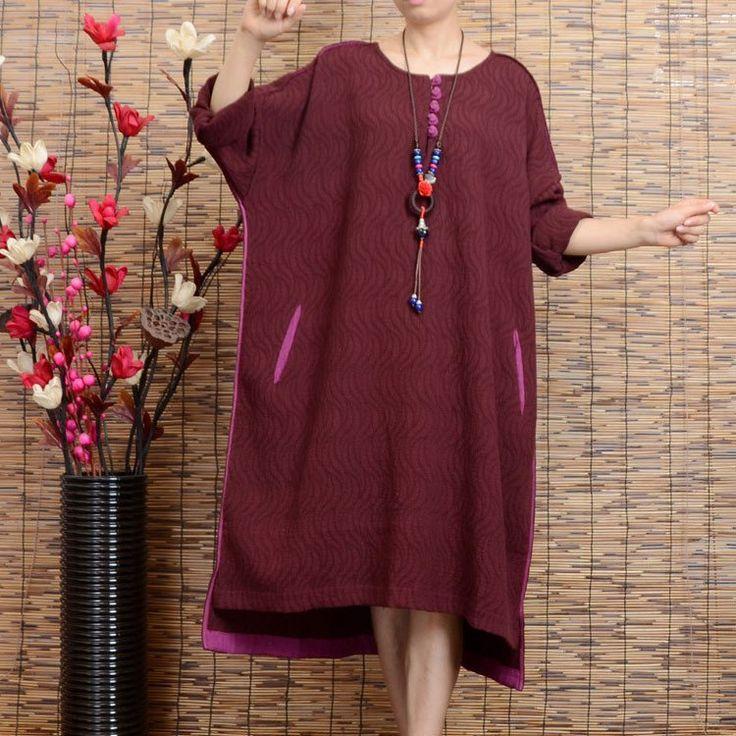 Women long sleeve vintage loose irregular linen long dresses