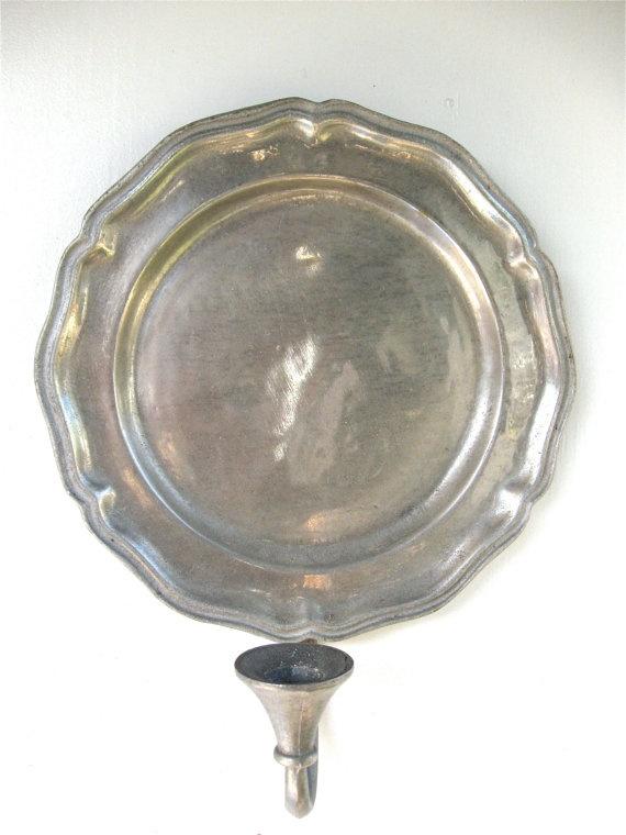 Antique Pewter Candle Holder Wall Sconces by ErmaJewelsVintage, USD 30.00 Vintage Home Pinterest