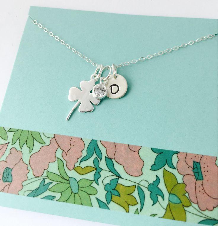 Shamrock Necklace, Sterling Silver Shamrock Necklace, Personalized Shamrock Necklace, Four Leaf Clover Necklace, Best Friends Necklace