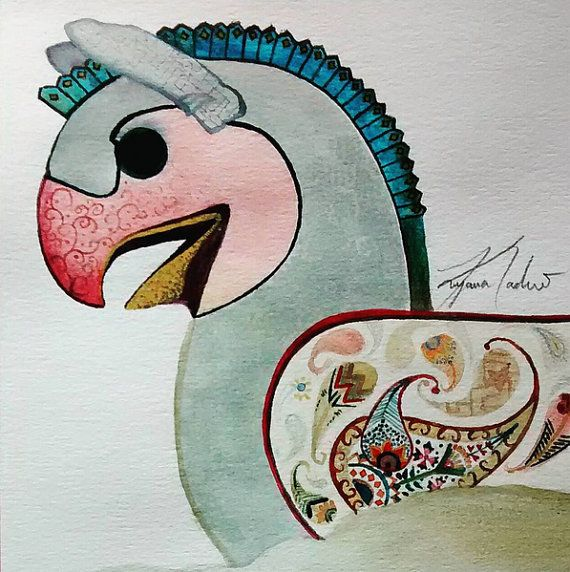 Persian homa bird painting persepolis watercolor for Huma bird tattoo