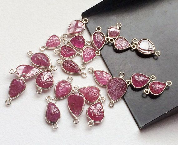 Ruby Connectors Ruby Hand Carved Leaf Shape by gemsforjewels