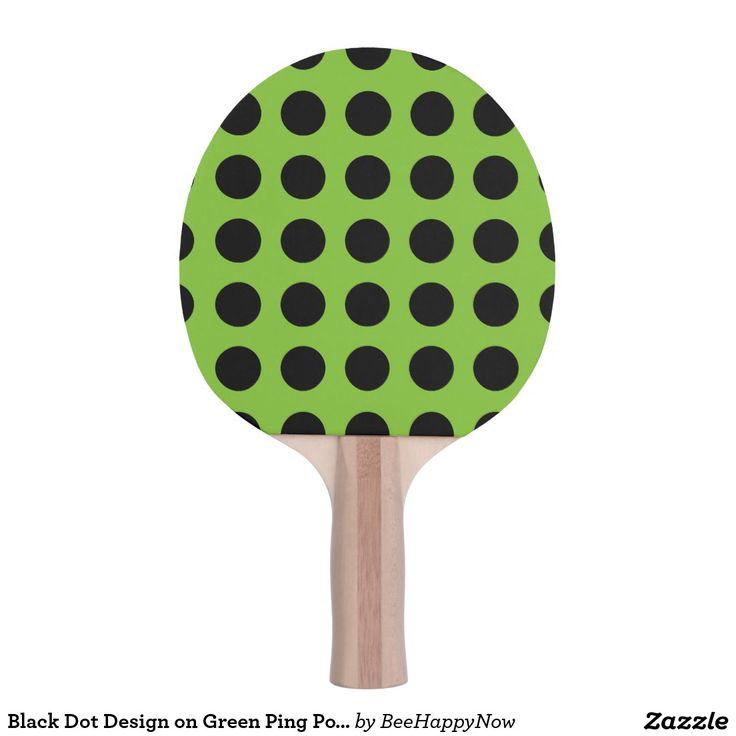 Black Dot Design on Green Ping Pong Paddle