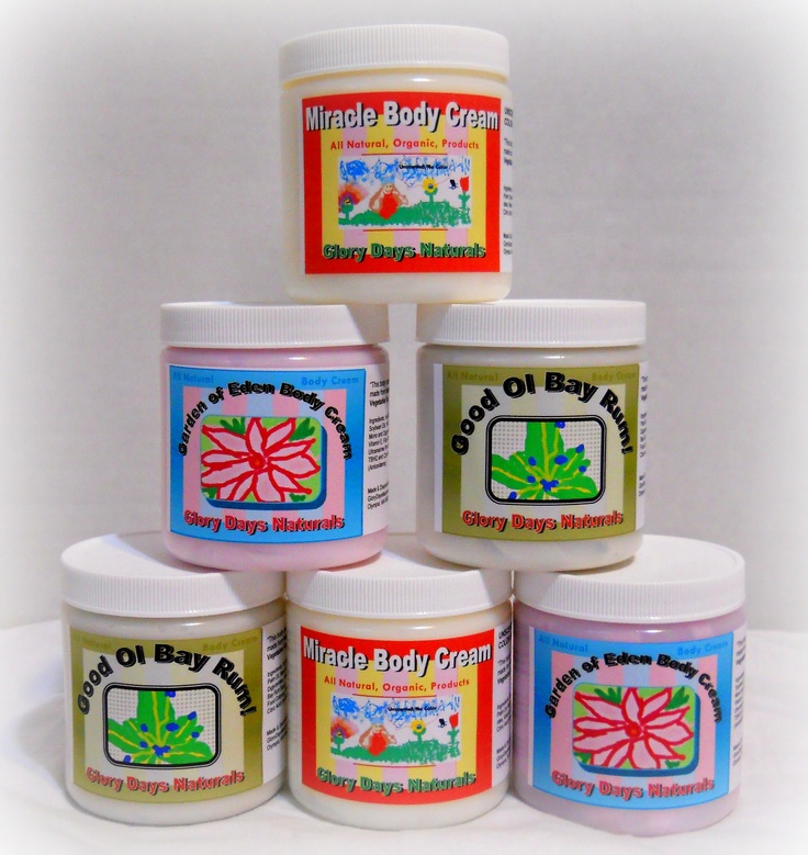 My Hand-made, all natural body creams for severely dry and/or older skin. So pure you can eat it... but don't. LOL http://www.glorydaysnaturals.com/shop-products.html