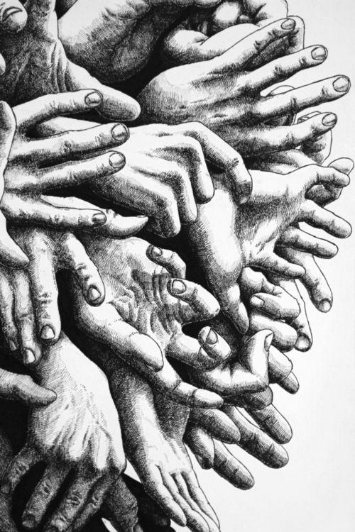 Artist Mateusz Nowakowski  Love the idea of overlapping hands
