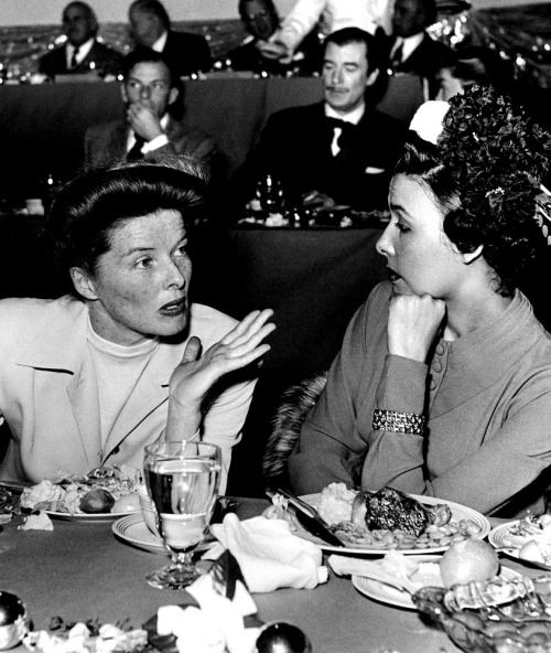 Katharine Hepburn and Lena Horne at MGM's 25th Anniversary Luncheon, c. 1949