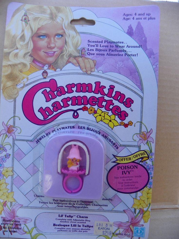 Vintage Charmkins Lil' Tulip Charm Ring , 1983 Hasbro Charmkins Lil' Tulip Girl , Charmkins Scented Jewelry Adjustable Ring Charm NRFB by ShersBears on Etsy