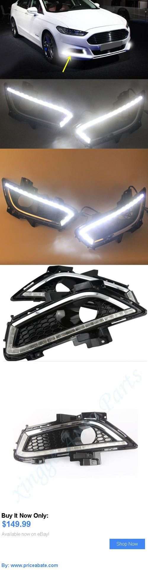 Motors parts and accessories 2x drl led daytime running light fog lamp cover for ford