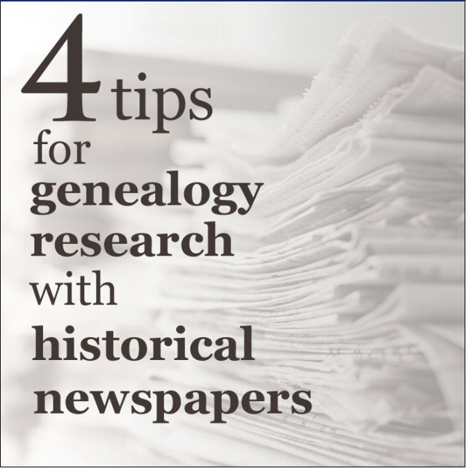 """Read more on the GenealogyBank blog: """"4 Tips for Genealogy Research with Historical Newspapers."""" http://blog.genealogybank.com/4-tips-for-genealogy-research-with-historical-newspapers.html"""