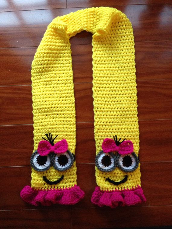Despicable Me Crochet Girl Pink and Yellow Minion Scarf With Ruffles and Bow Made to Order