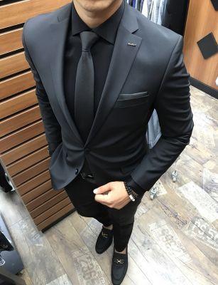 cb422b2ae4fe4 Terziademaltun - İtalyan kesim Altınyıldız nano slim SİYAH erkek takım  elbise T2114 (1)