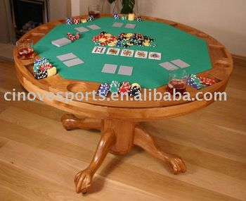 Traditional Gaming/Poker Table. Round, wooden, pedestal table, seats 4 to 5 comfortably.