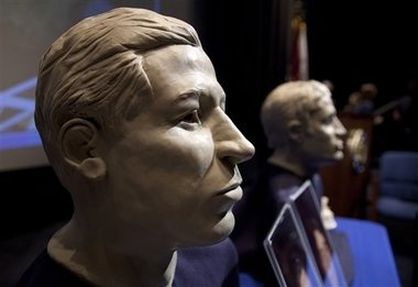 Monitor Remains...facial reconstruction of the two sailors of the Civil War ironclad USS Monitor, older is at left, are on display in the auditorium of the United States Navy Memorial in Washington. The remains of the two unknown Union sailors recovered from the Civil War ironclad USS Monitor will be interred in Arlington National Cemetery on March 8 2012