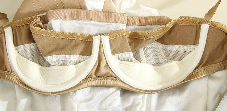 inside of D dress, bra rather than corset construction