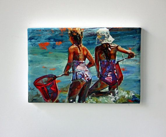 Tiny Canvas  Shallow Water Treasures  Beach Art by ClaireMcCallArt