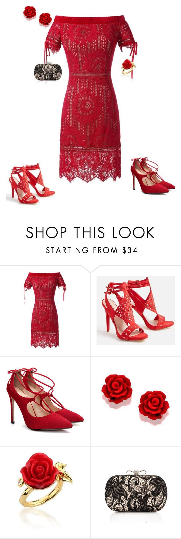 """""""LITTLE RED DRESS"""" by gyhulm on Polyvore featuring JustFab, Disney Couture, WithChic and lacey"""