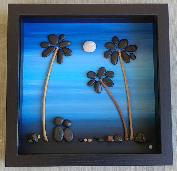 Pebble Art Rock Art Pebble Art couple Rock Art Couple palm