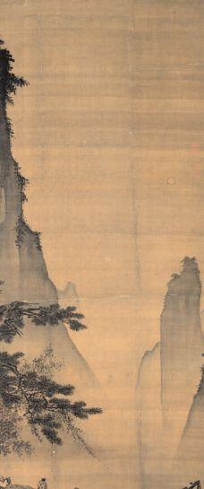 """Ma Yuan - L""""espace du vide (Face à la Lune). - 4) MA YUAN: ..l'espace resté vide entre les aiguilles et les falaises aux a-pics impressionnants. Sur une plate-forme dominant le vide, un lettré est assis et porte un toast à l'astre de la nuit. Un peu à l'écart se tient un serviteur debout, porteur d'un récipient. Cette scène fait allusion au poème """"En buvant seul sous la lune"""" du poète TANG LI BAI (701-162). Bien que le tableau ne comporte ni signature, ni cachet de l'artiste, il  a été ...."""