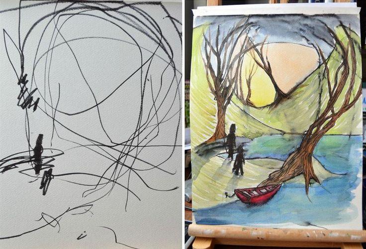 Madre transforma los garabatos de su hija de 2 años en obras de arte