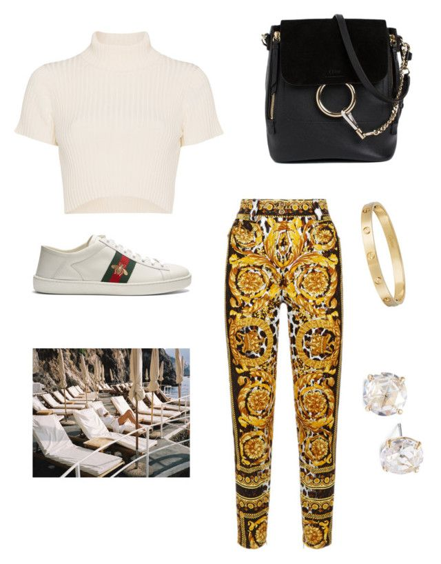 """""""Untitled #36"""" by sofiabaaima ❤ liked on Polyvore featuring Staud, Gucci, Kate Spade, Chloé and Cartier"""
