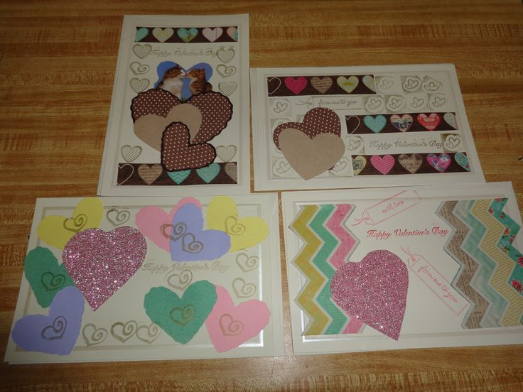Just a few of my 2014 homemade Valentine cards.....