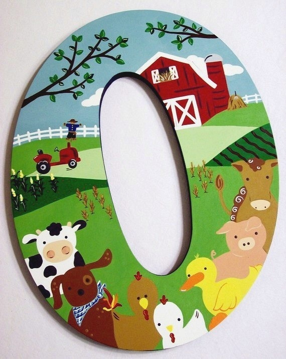 This wooden letter has been beautifully painted with Acrylic paints.  This one is no longer available but the seller stocks other designs.  If you fancy giving a farm one a go then buy your letters from www.inf.co.uk and get painting!