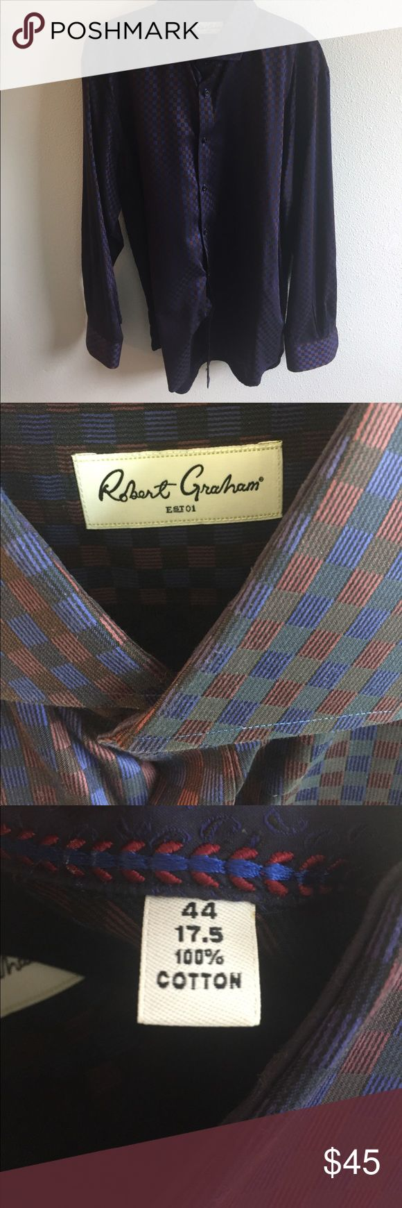 Robert Graham Dress Shirt This shirt is amazing! The coolest navy and brown check pattern. Classy and cutting-edge. Size 44/17.5 (XL). Like new - worn maybe once. Robert Graham Shirts Dress Shirts
