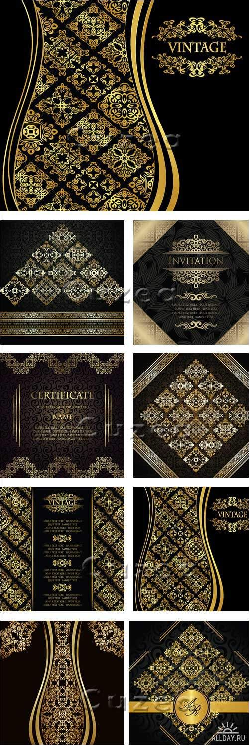 wedding card backgrounds vectors%0A                                                                             Black vintage with gold ornament  in vector