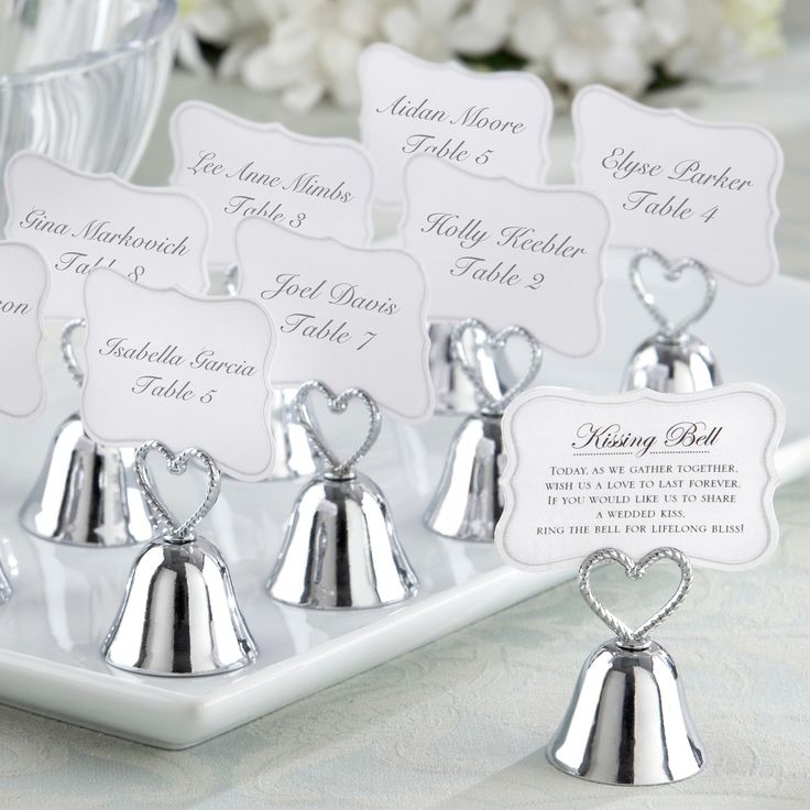 """""""Kissing Bells"""" Wedding Place Card Holder 
