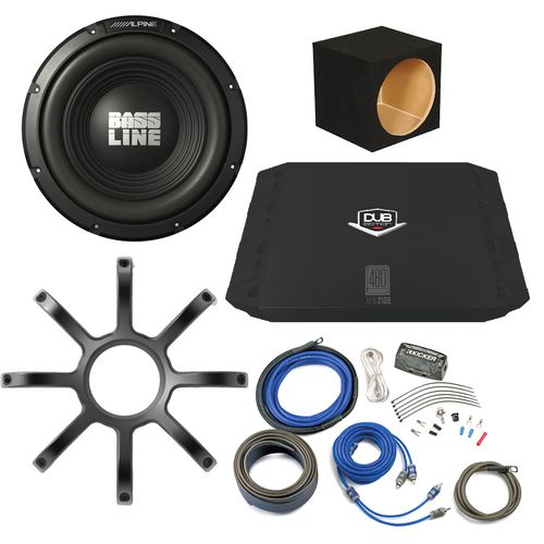 Bass Package - Alpine Bassline 10  Subwoofer w/ box DUB 200 watt & Wiring Kit and Alpine Grille  sc 1 st  Pinterest : sub wiring kit - yogabreezes.com
