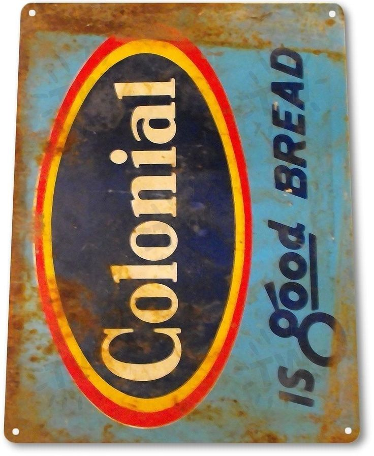 "TIN SIGN ""Colonial Bread"" Metal Decor Wall Art Kitchen ..."